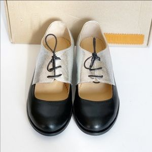 NEW Julia Bo lace up Oxford silver/black 36